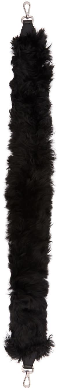 Image of Fendi Black Alpaca Hairy Bag Strap