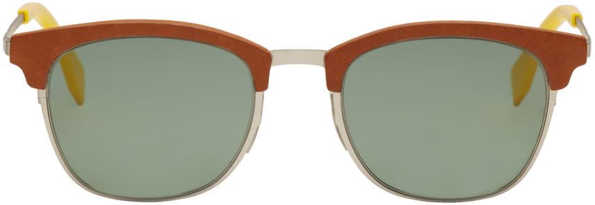 Fendi Brown and Silver Qbic Sunglasses