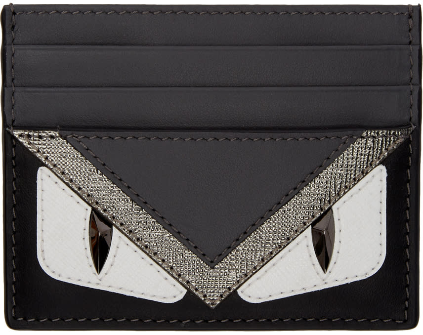 Image of Fendi Black and Grey bag Bugs Card Holder