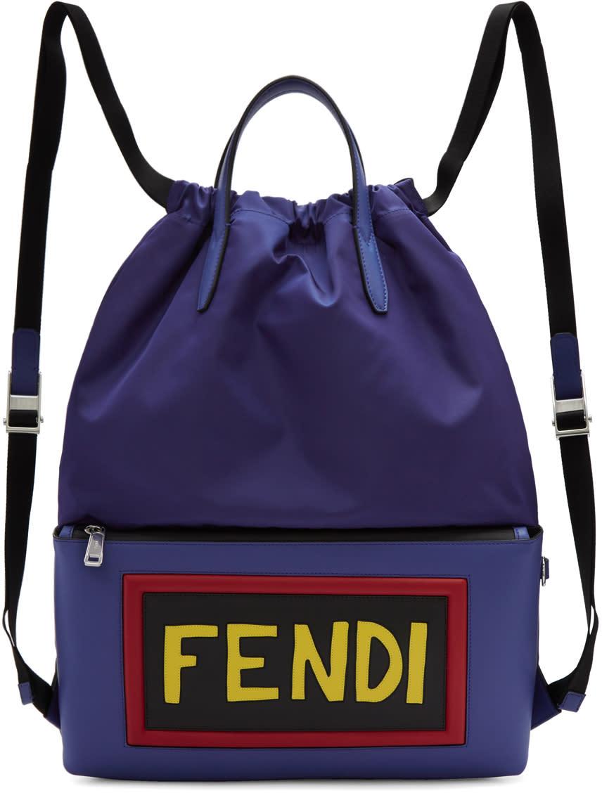 78c56948 Fendi Blue Nylon Logo Drawstring Backpack