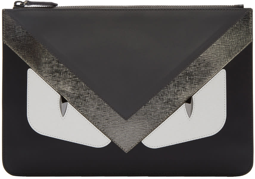 Image of Fendi Black and Grey bag Bugs Pouch