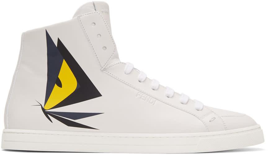 Fendi White Butterfleyes High-top Sneakers