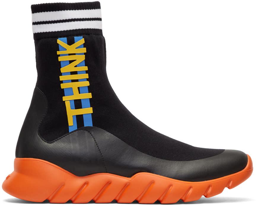 Fendi Black and Orange Sock think Fendi High-top Sneakers