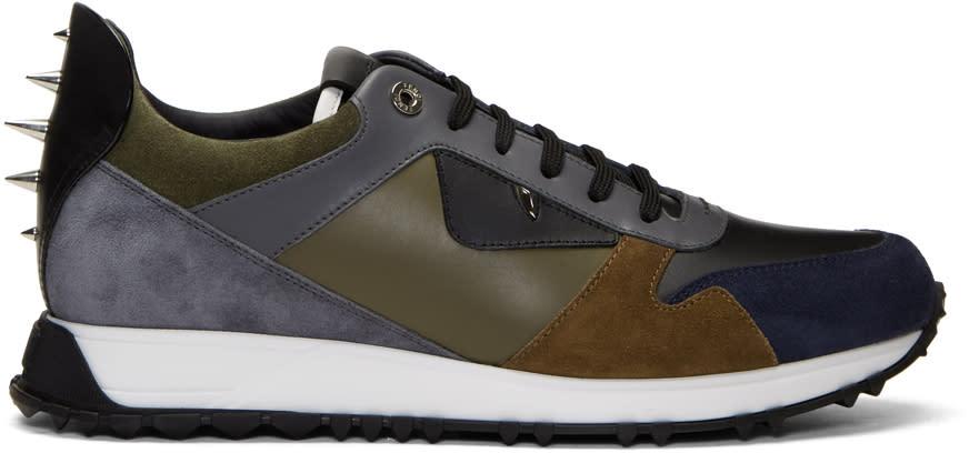 Fendi Navy and Grey bag Bugs Sneakers