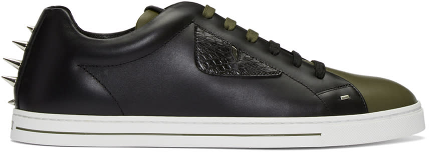 Image of Fendi Black and Green Stud Sneakers