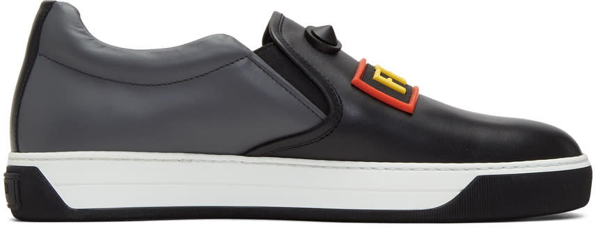 Image of Fendi Black and Grey fendi Faces Slip-on Sneakers