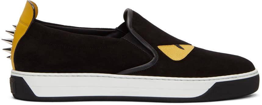 Fendi Black Suede bag Bugs Slip-on Sneakers