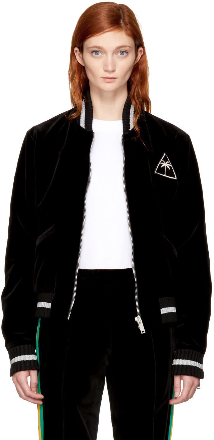 Palm Angels Black Velvet Palm Icon Souvenir Jacket