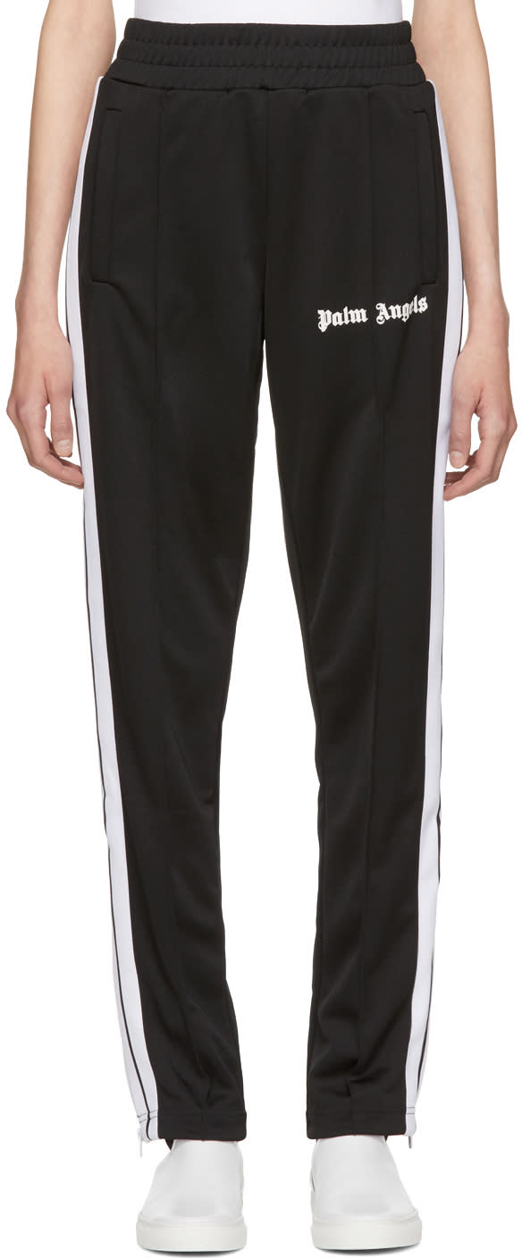 Image of Palm Angels Black Contrast Tape Track Pants