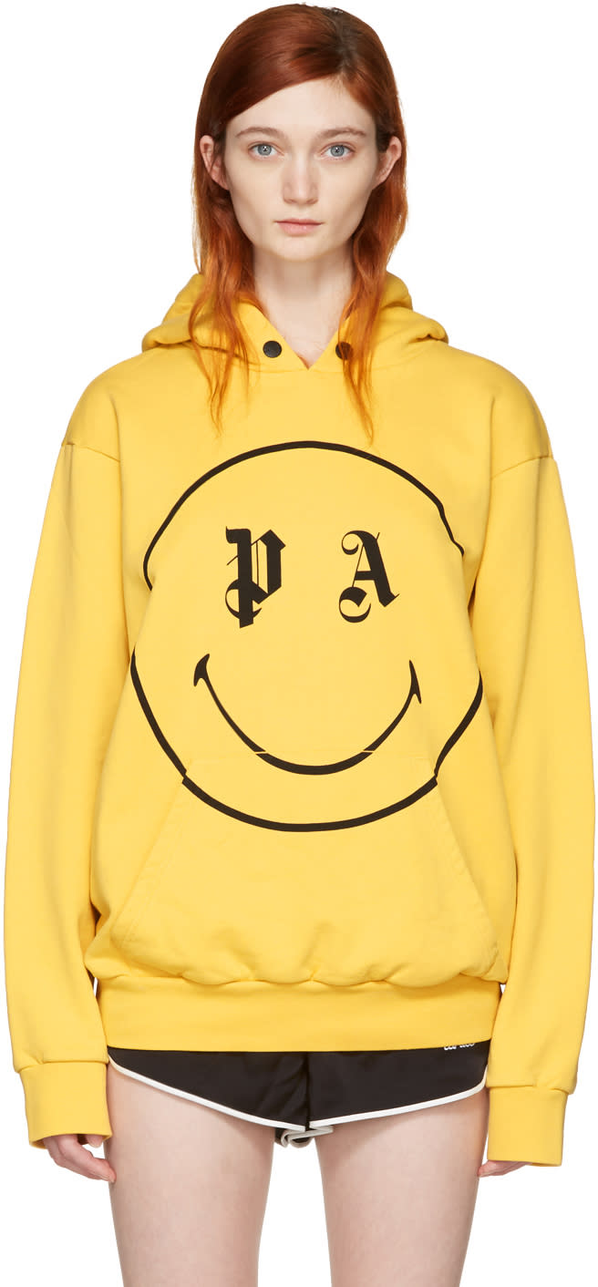 Palm Angels Ssense Exclusive Yellow Pa Smiling Hoodie