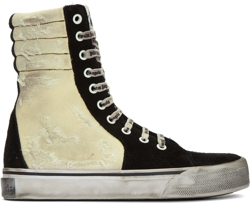 Image of Palm Angels Black and Off-white Distressed Suede Super High-top Sneakers