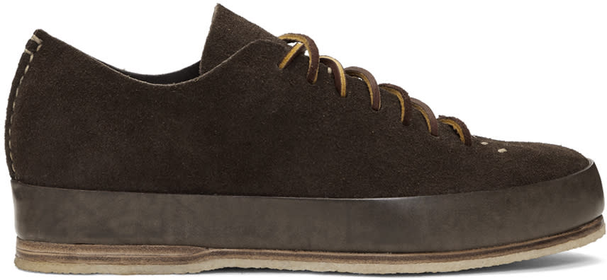 Feit Brown Suede Hand Sewn Low Sneakers