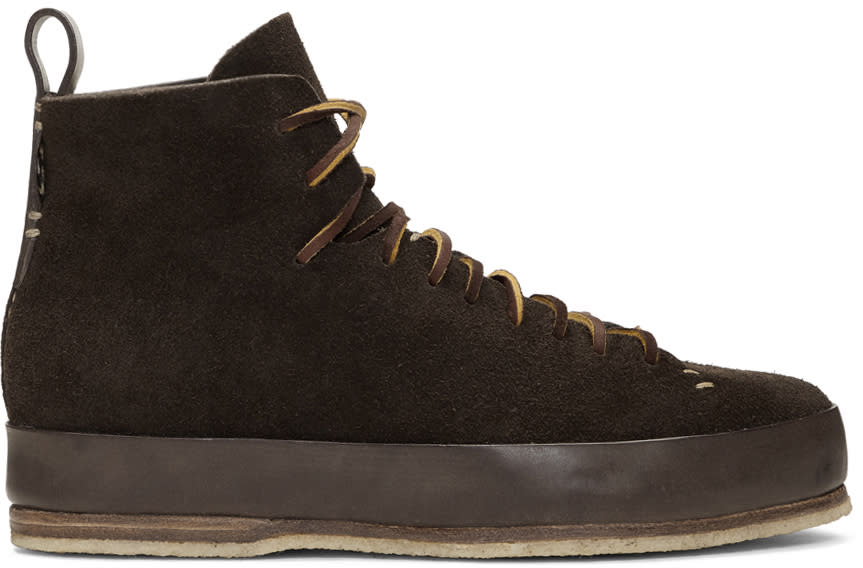 Image of Feit Brown Suede Hand Sewn High Sneakers