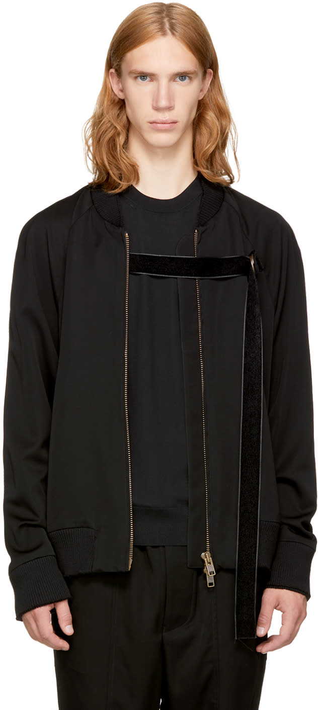 Image of Song For The Mute Black mute Strap Bomber Jacket