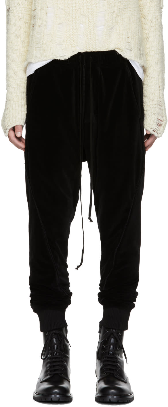 Image of Song For The Mute Black Slim Velour Track Pants