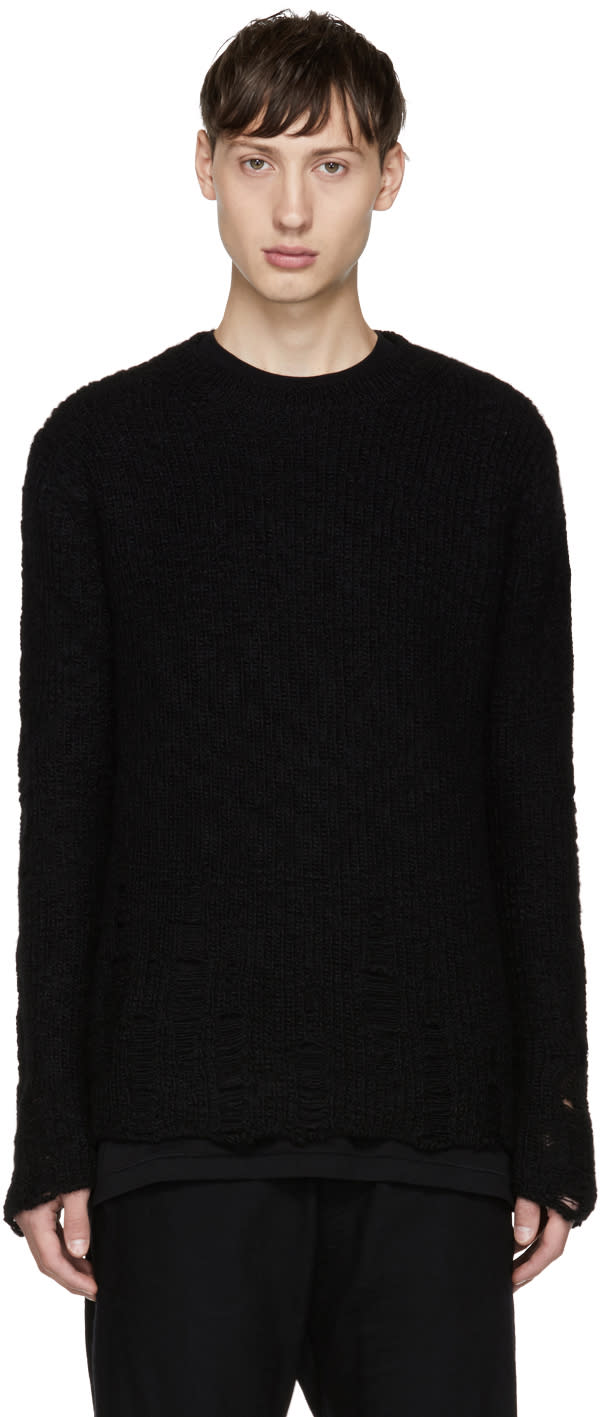 Image of Song For The Mute Black Distressed Alpaca Sweater