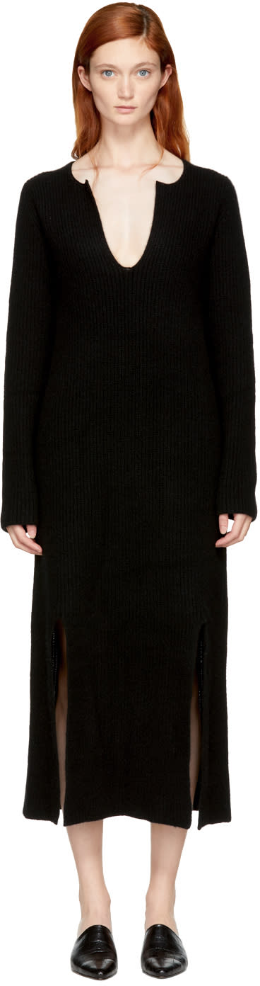 Image of Rosetta Getty Black Cashmere Slit Front Sweater Dress