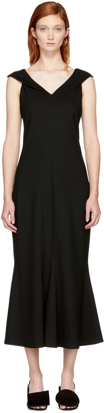 Image of Rosetta Getty Black Split Neck Flared Dress
