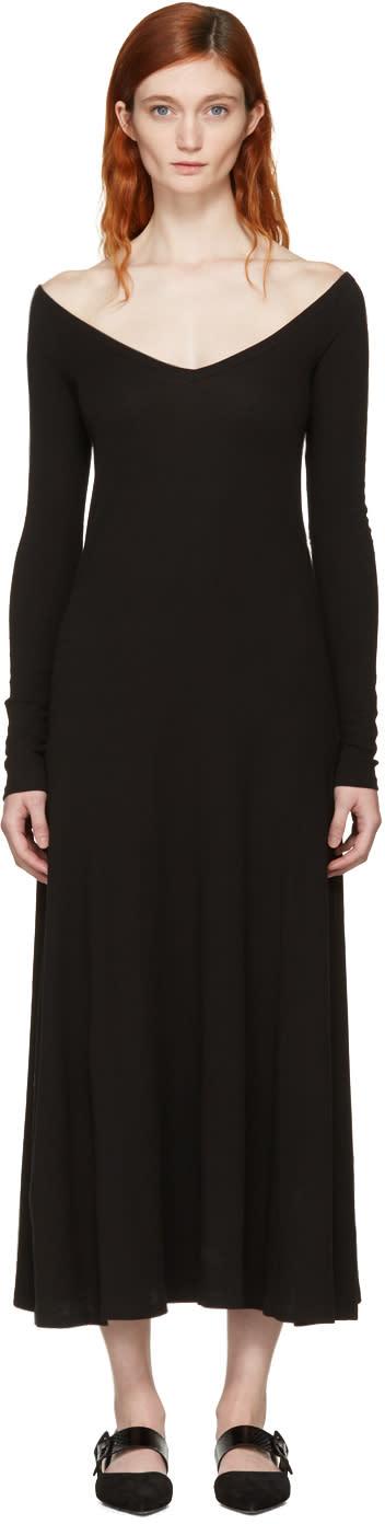 Rosetta Getty Black Open V-neck T-shirt Dress