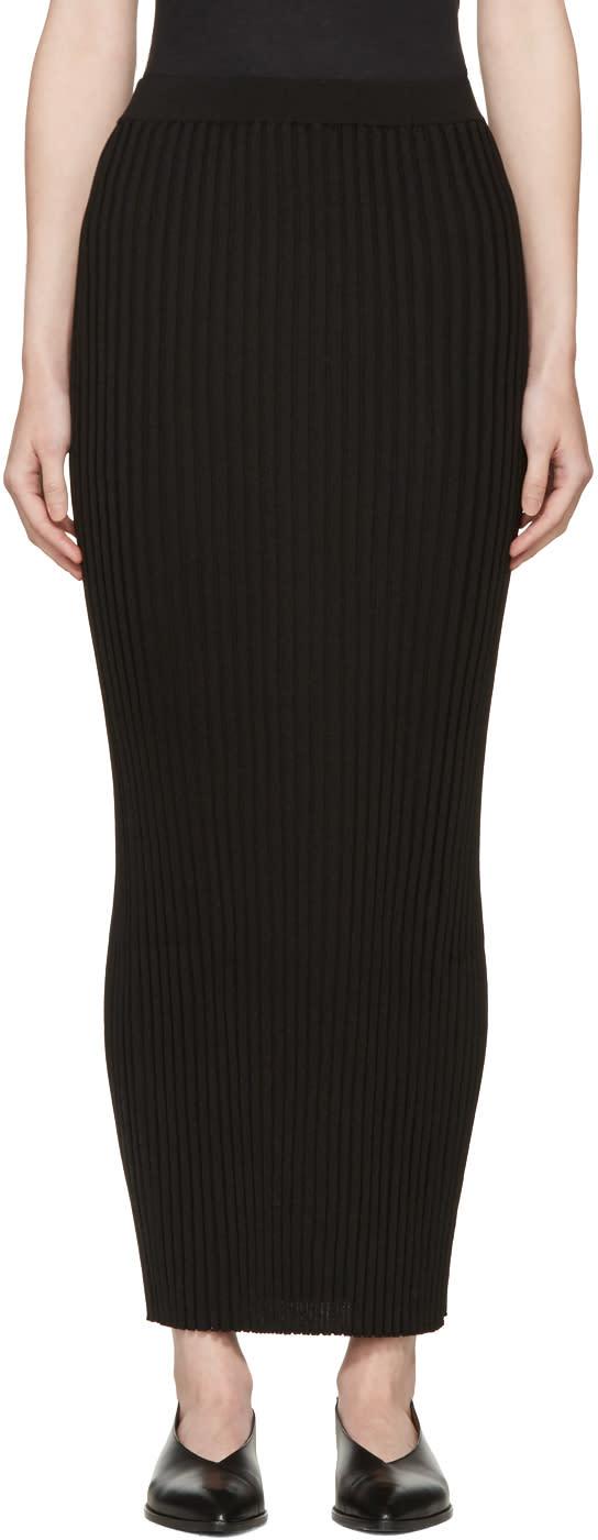 Rosetta Getty Black Ribbed Long Skirt