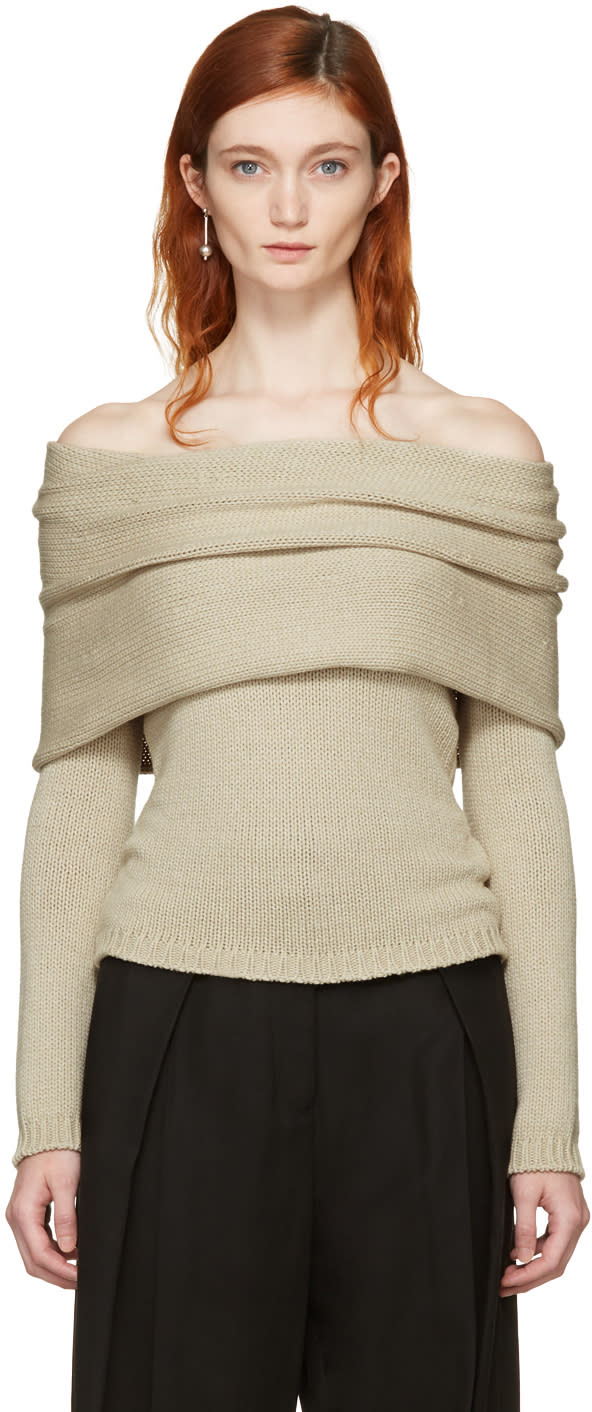 Image of Rosetta Getty Beige Banded Off-the-shoulder Pullover