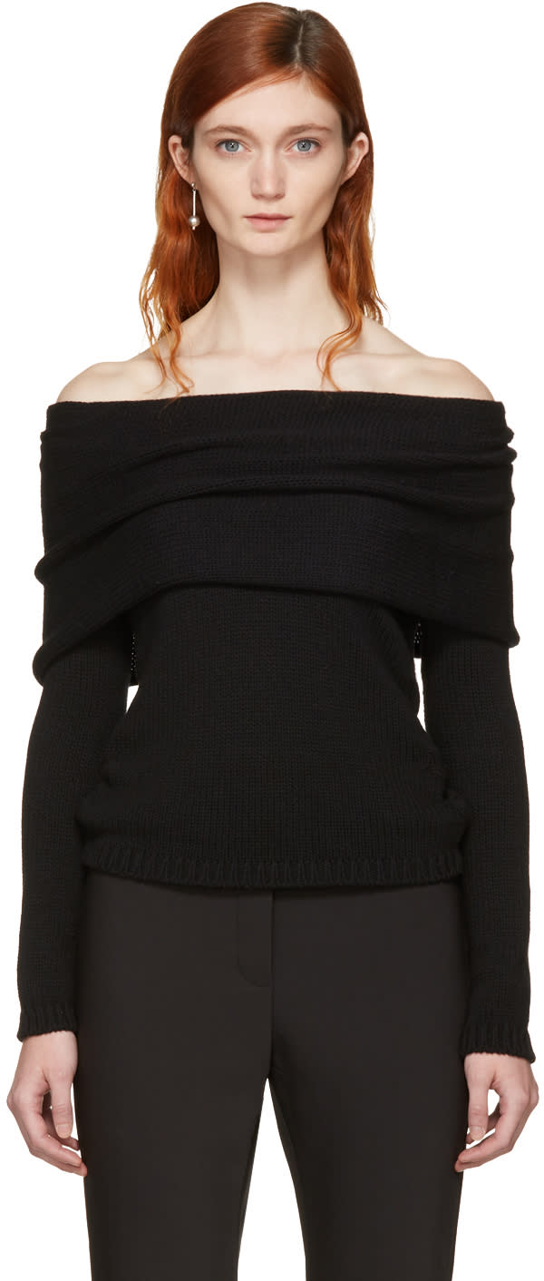 Image of Rosetta Getty Black Banded Off-the-shoulder Pullover