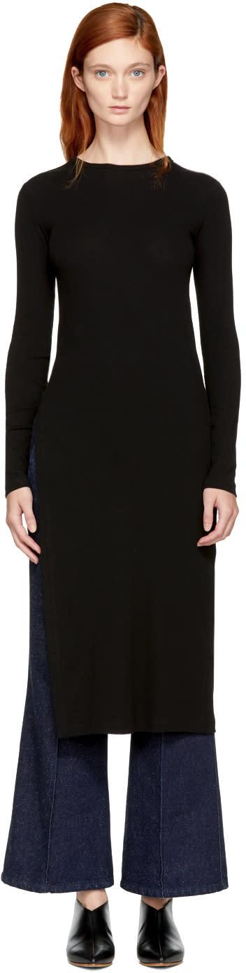 Image of Rosetta Getty Black Long Sleeve Split T-shirt