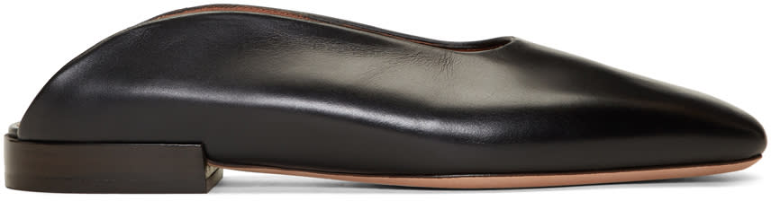 Image of Rosetta Getty Black Leather Loafer Slides
