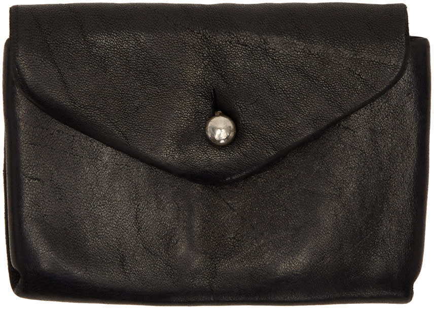 Image of Guidi Black Leather Coin Wallet