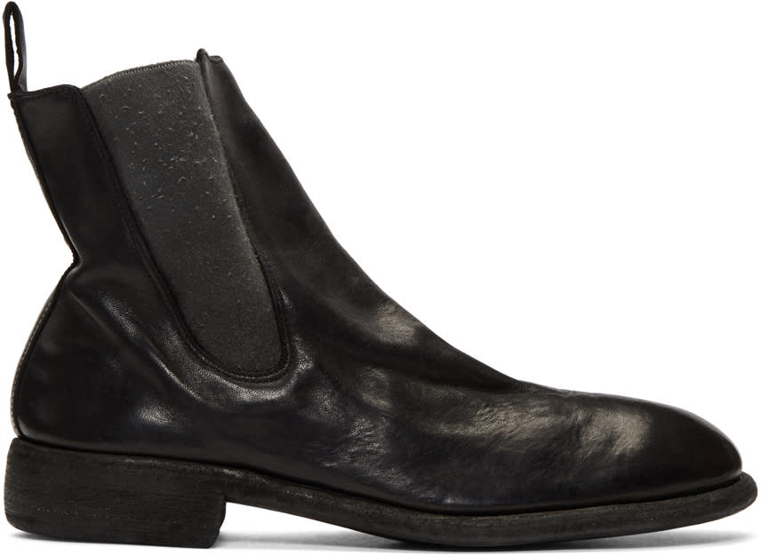 Image of Guidi Black Leather Chelsea Boots