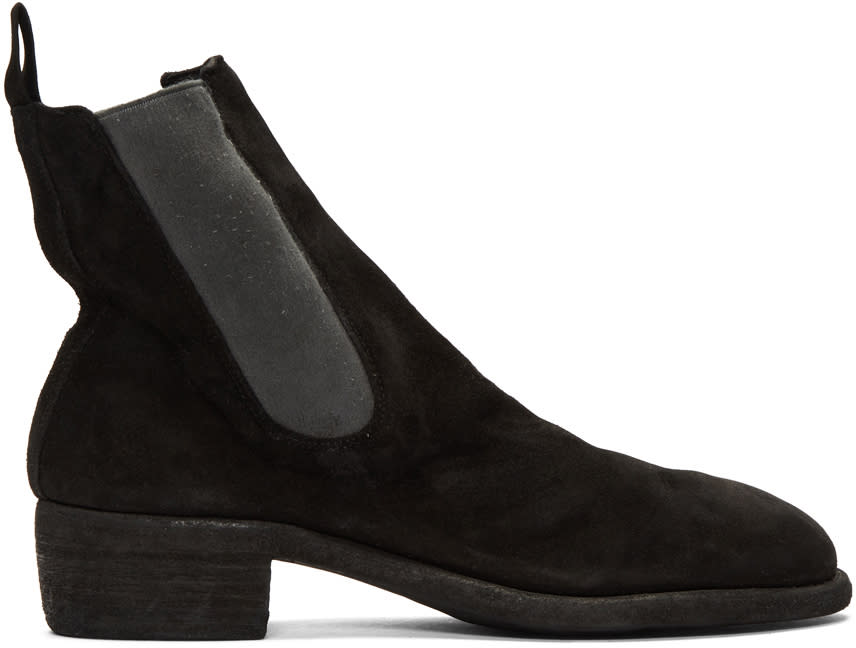 Image of Guidi Black Suede Chelsea Boots