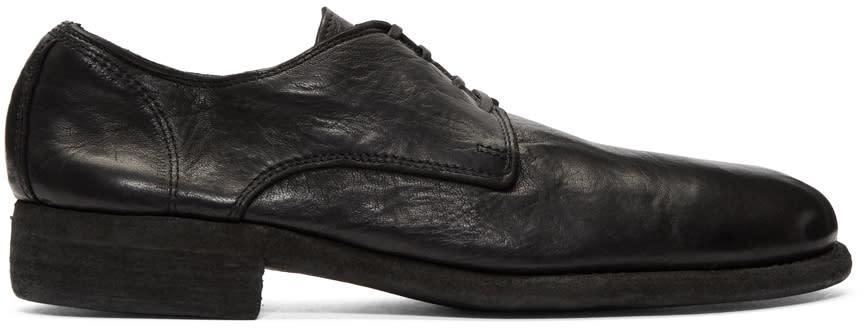 Image of Guidi Black Leather Derbys