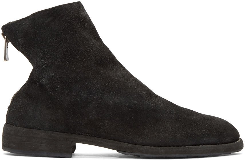 Image of Guidi Black Suede Oxford Back Zip Boots