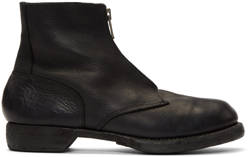 Image of Guidi Black Soldato Front Zip Boots