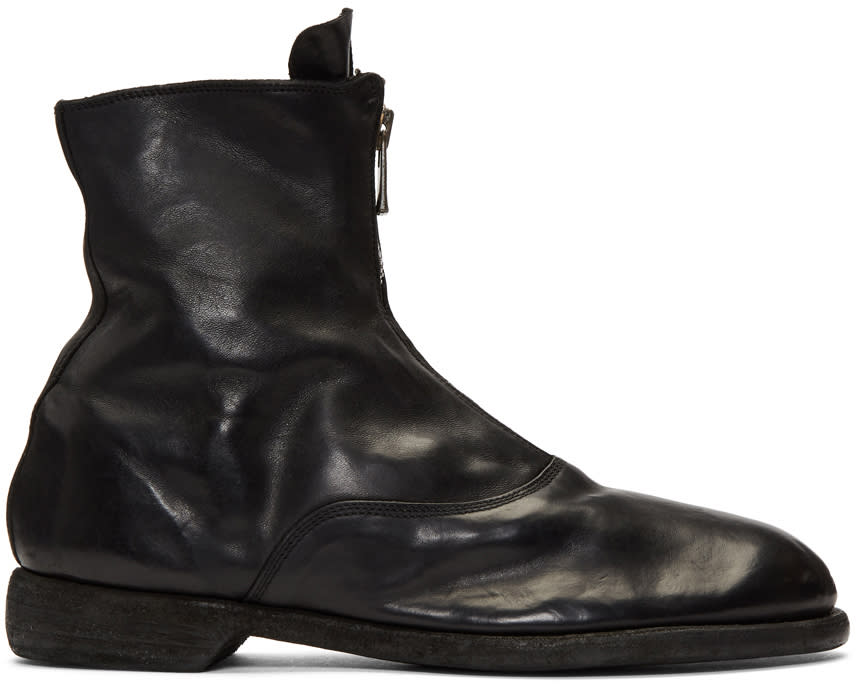 Image of Guidi Black Front Zip Boots