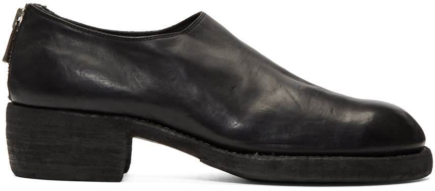 Guidi Black Zip-up Loafers