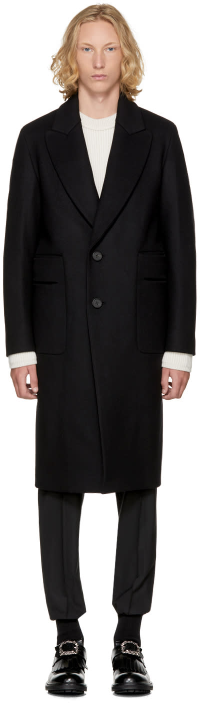 Image of Wooyoungmi Black Cut-out Pocket Coat