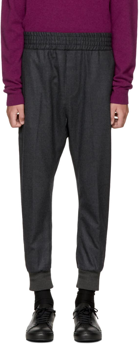 Wooyoungmi Pantalon De Survêtement En Laine Gris