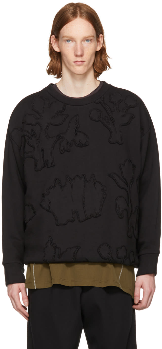 Image of Wooyoungmi Black Graphic Sweatshirt