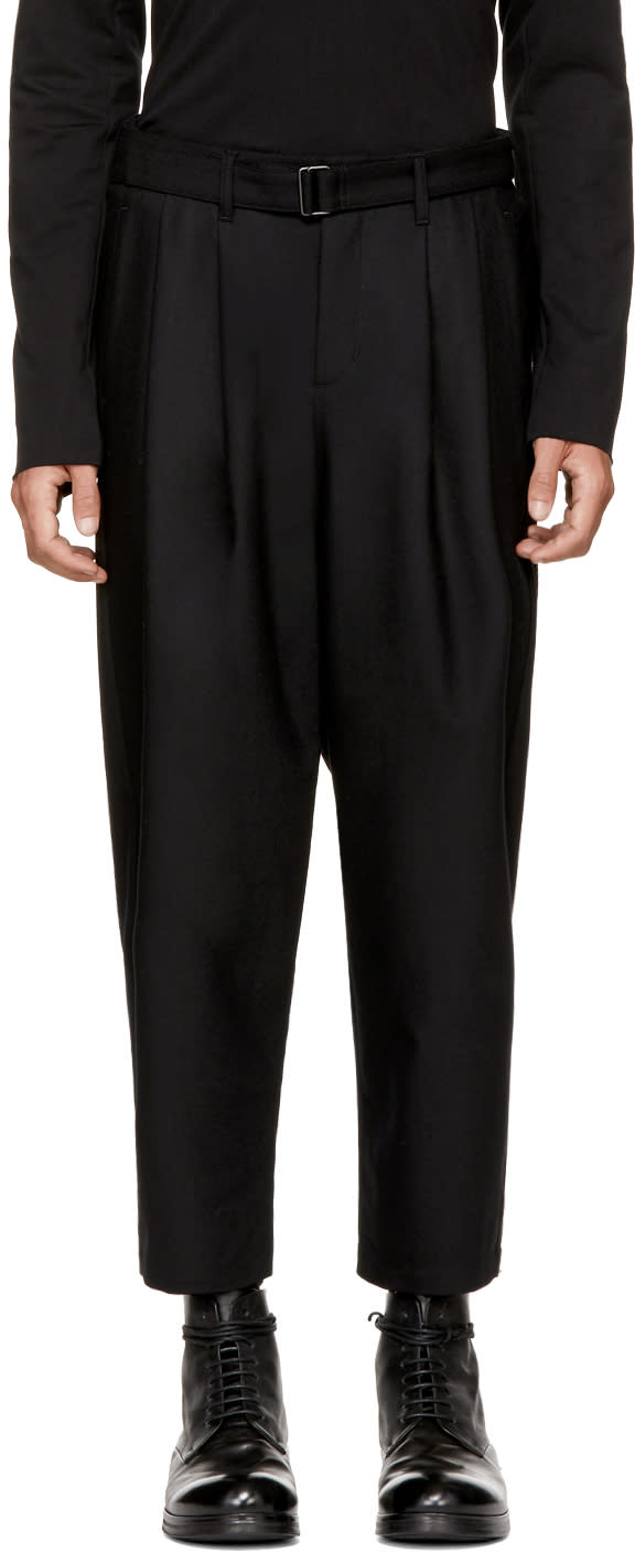 Image of Attachment Black Wool Pleated Belted Trousers