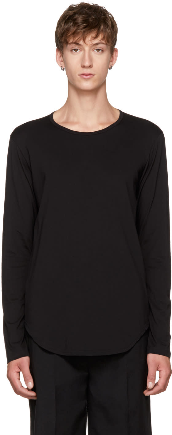 Image of Attachment Black Long Sleeve Cotton T-shirt