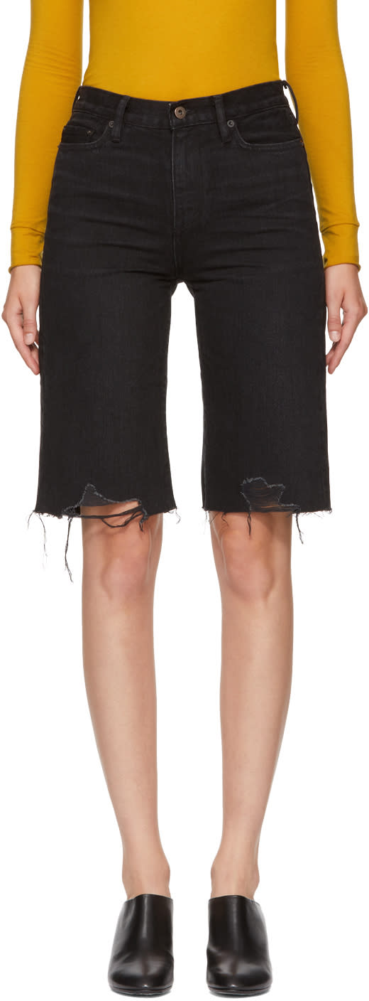 Image of Simon Miller Black Denim Cut-off Brent Shorts