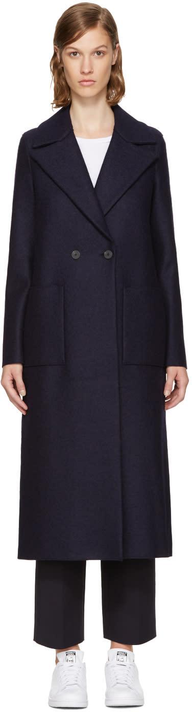 Image of Harris Wharf London Navy Wool Boxy Duster Coat