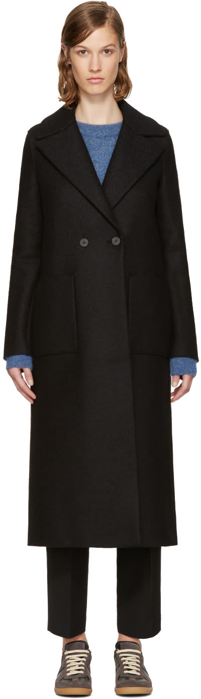 Image of Harris Wharf London Black Wool Boxy Duster Coat