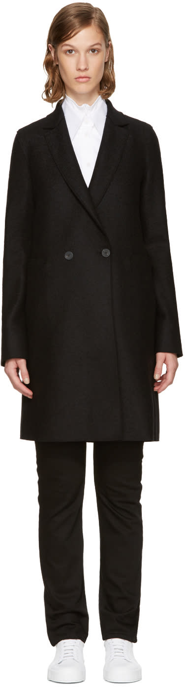 Image of Harris Wharf London Black Wool Double-breasted Coat