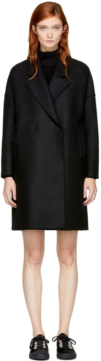 Image of Harris Wharf London Black Wool Wide Lapel Coat