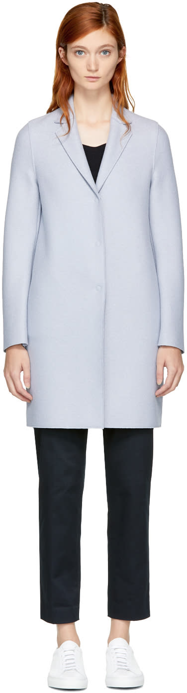 Image of Harris Wharf London Grey Wool Cocoon Coat