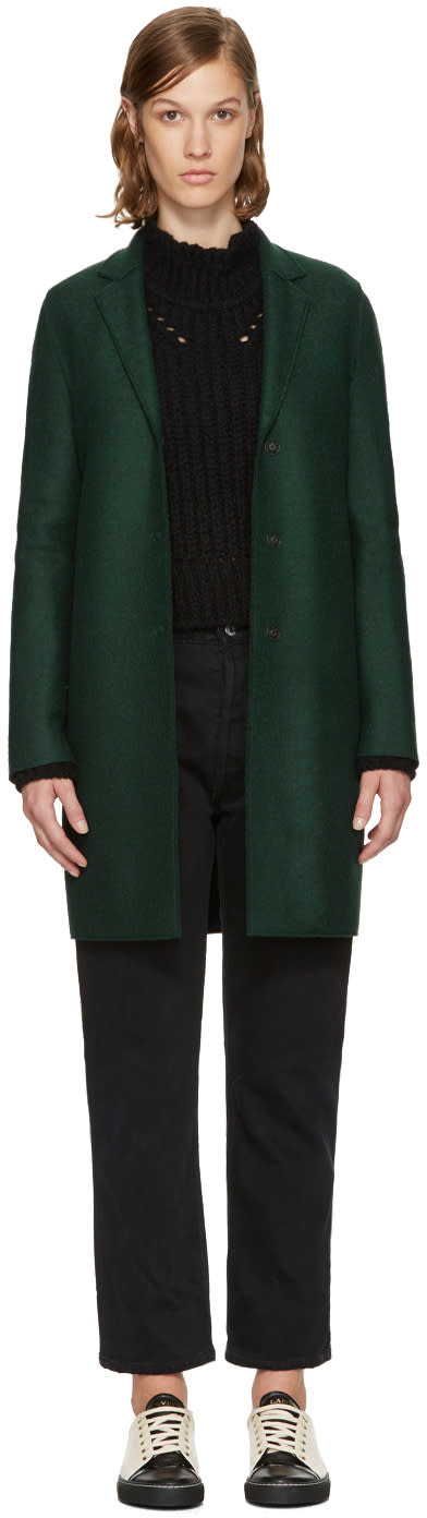 Image of Harris Wharf London Green Wool Cocoon Coat