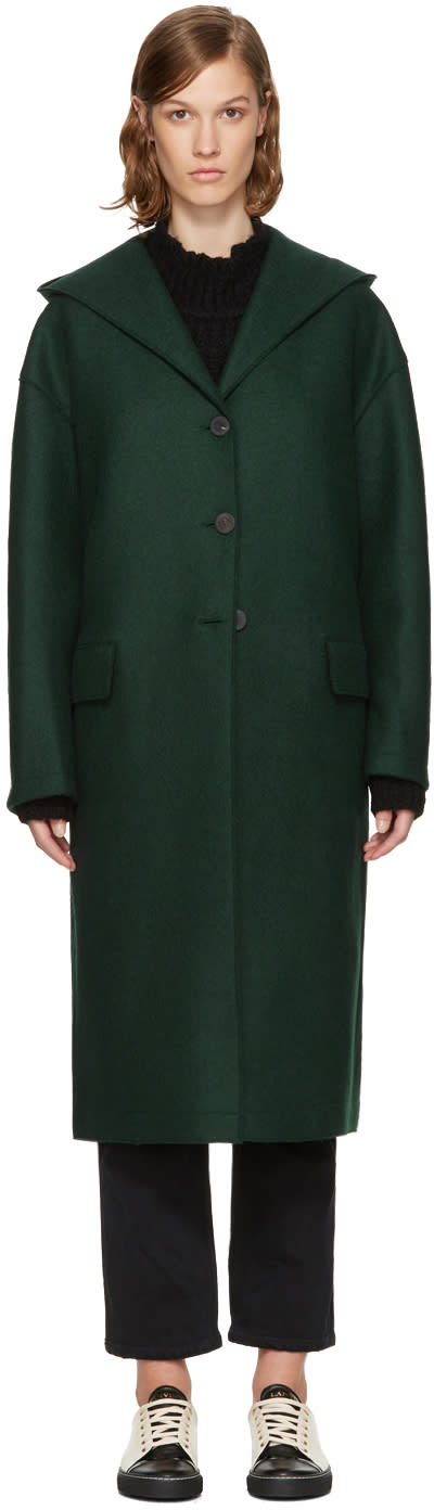 Image of Harris Wharf London Green Wool Oversized Hooded Coat