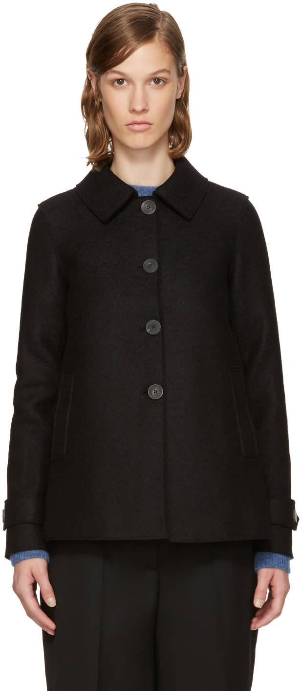 Image of Harris Wharf London Black Wool Short Loden Coat